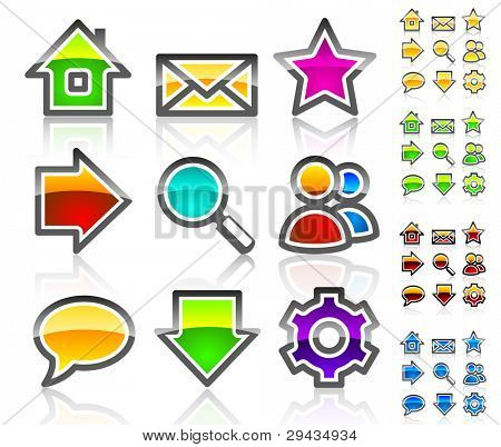 Glassy web icons. Colorful variant. Crystal series.