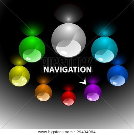 Easy to edit web navigation template with colorful buttons 3 (variant on top)