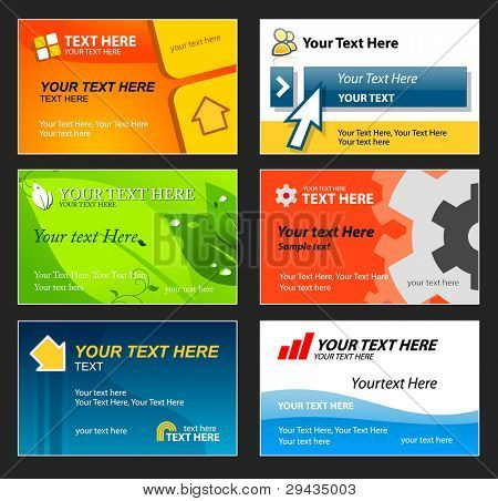 Reihe von bunten Visitenkarten. bearbeitbare Vektor