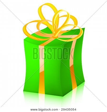 Easy to edit vector gift box (green variant)