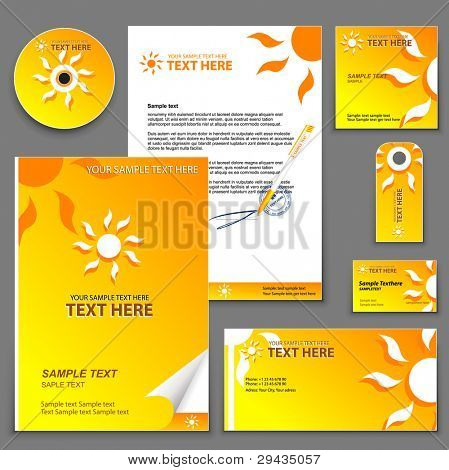 Easy to edit vector orange business template 6 (for travel company):  blank, card, pen, cd, note-paper, envelope