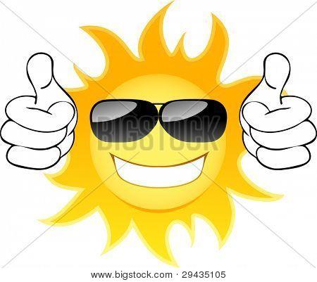 Sol sonriente con gafas. Ilustración de Vector
