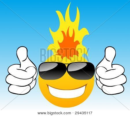Smiling sun with glasses in the sky 2. Vector illustration