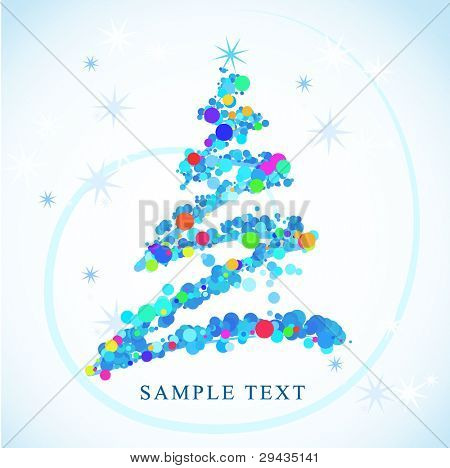 New year card 8, with tree, vector illustration