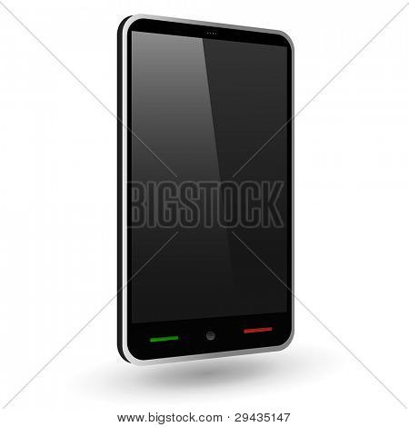 Fictitious touch smartphone 2 (black). Vector Illustration.
