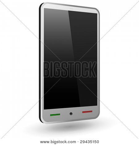Smartphone táctil ficticio 1 (plata). Ilustración del vector.