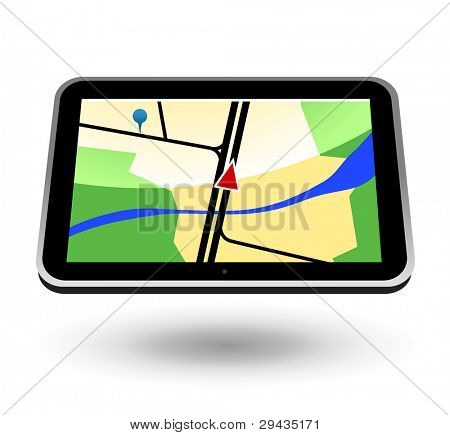 GPS Navigator (black, horizontal view). Editable vector Illustration.