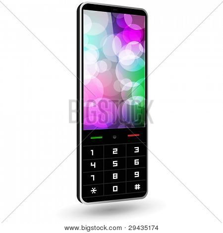 Fictitious phone 3 (black, with wallpaper). Vector Illustration.