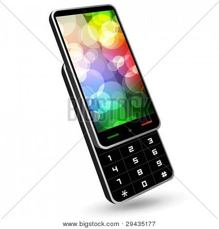 Fictitious phone 4 (slider, black, with wallpaper). Editable vector Illustration.
