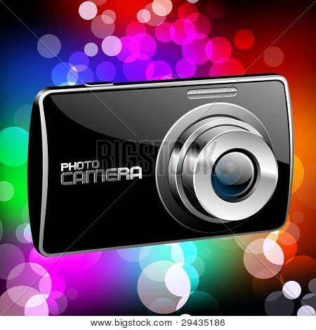 Vector Photo camera 4 (black with a color background)