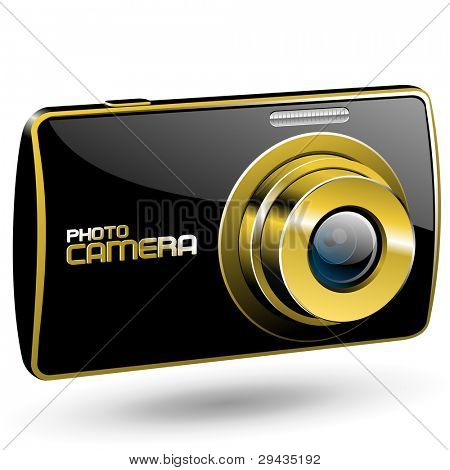 Vector Photo camera 3 (black with gold)