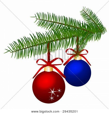 Branch with Christmas balls. Editable Vector.