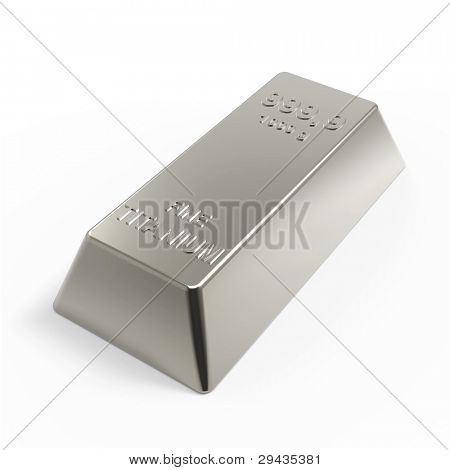 Titanium ingot isolated on white. Computer generated 3D photo rendering.