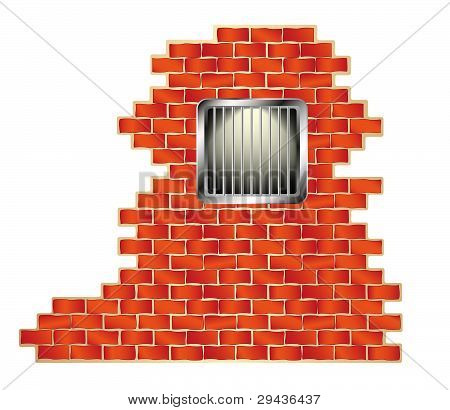 Jail window with bars on brick wall