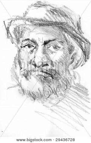 retrato do homem de idade com o chapéu do meio