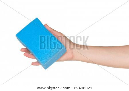 Woman hand with kitchen sponge for ware washing isolated on white background