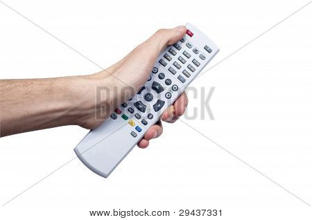 Young Male Holind Remote Controller and pressing some button