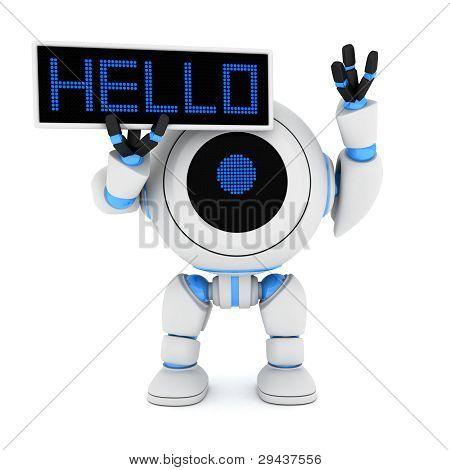Robot And Plate Hello