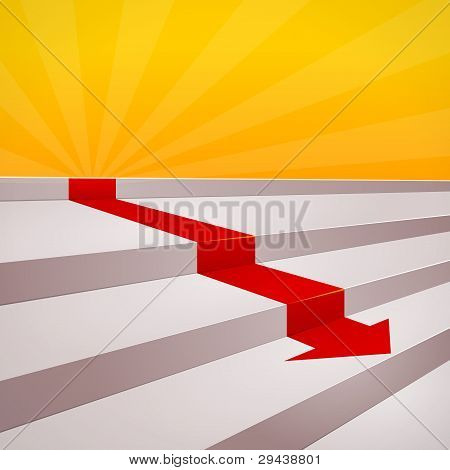 Red arrow on steps
