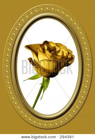 Golden Rose And Oval Frame 10