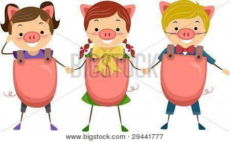Illustration of Children Celebrating National Pig Day