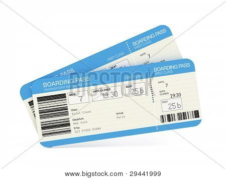 zwei boarding Pass Flugtickets isoliert auf weiss