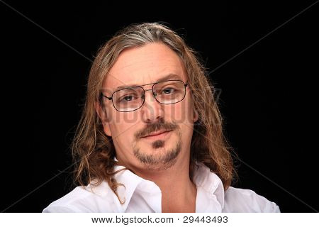 funny long haired man wearing glasses