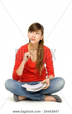 Female student thinking