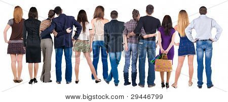 Back view group of people who are looking into the distance. Rear view. Isolated over white background.