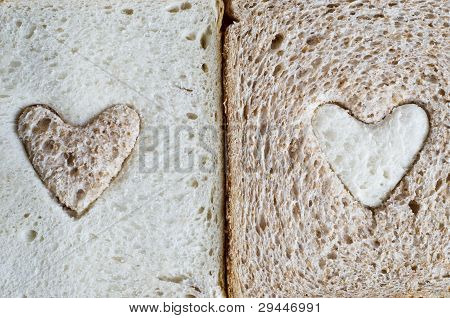 Brown And White Bread Hearts
