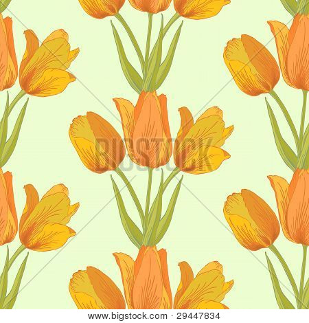 Vector Tulips Sealess Background.