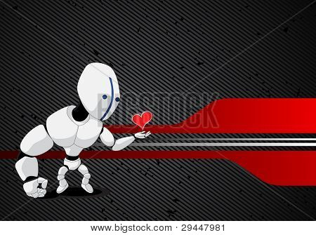 vector robot with red heart in hand