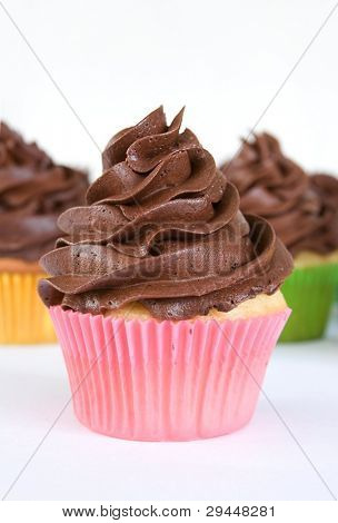 chocolate cupcake - pink wrapper