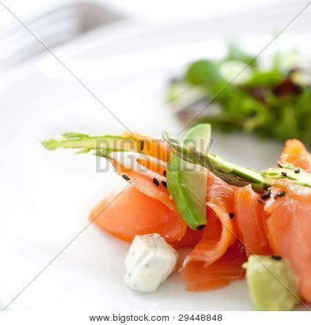 Close Up Smoked Salmon Salad