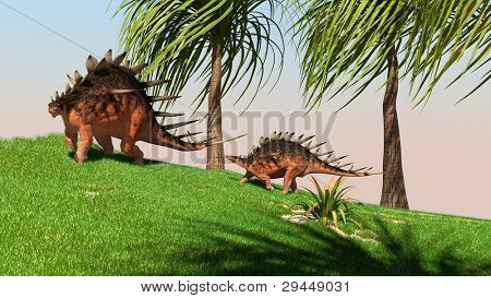 two kentrosaurus in jungle