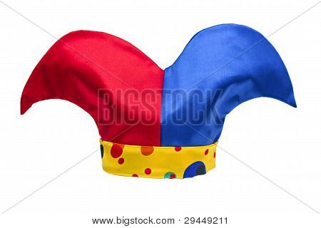 Multi-colored Jester Hat Isolated On White Background