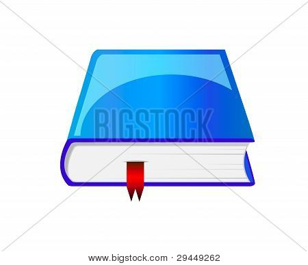 Vector Blue Book With Bookmark