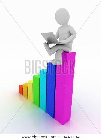 3d man sitting on graph bar with laptop on white background