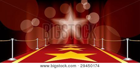 vector horizontal entertainment background with red carpet and yellow stars