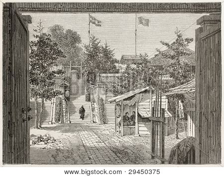 Tjoodji old view (Swiss embassy and Dutch legation seat in Tokyo). Created by Therond after photo by unknown author, published on Le Tour du Monde, Paris, 1867