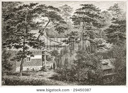 British legation's garden in Yedo (Tokyo). Created by Lancelot after photo by unknown author, published on Le Tour du Monde, Paris, 1867