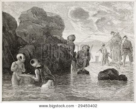 Japanese people in Shinagawa rock beach, old view.  Created by Bayard after Japanese sketches by unknown author, published on Le Tour du Monde, Paris, 1867