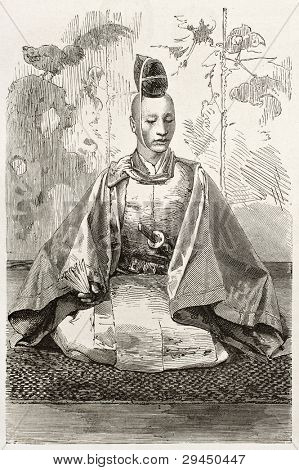 Mikado's officer old engraved portrait. Created by Bayard after photo of unknown author, published on Le Tour du Monde, Paris, 1867