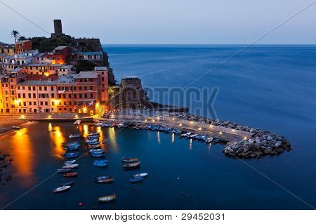 Harbor In Historical Village Vernazza In The Night, Cinque Terre, Italy