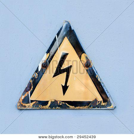 "Warning safety sign ""Danger of electric shock""."
