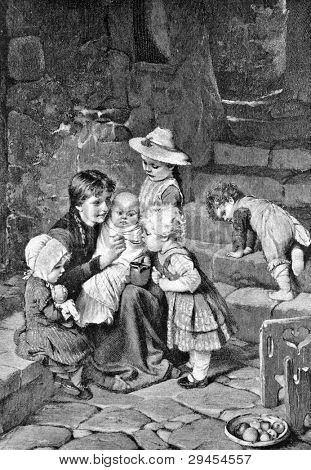 "Toddlers. Engraving by Brendmaur from picture by painter Ganfshtengel. Published in magazine ""Niva"", publishing house A.F. Marx, St. Petersburg, Russia, 1893"