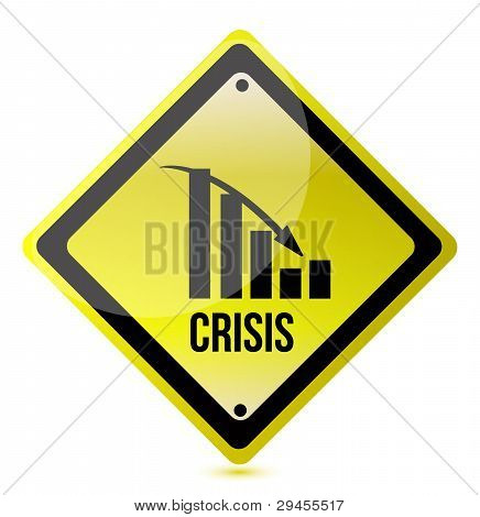 crisis ahead graph yellow traffic sign illustration design over white