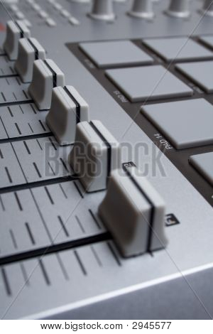 Faders In The Music Studio