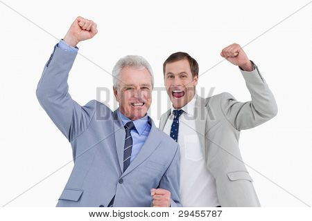 Celebrating tradesmen against a white background