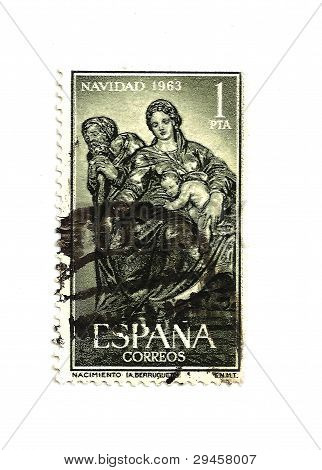 Spain - Circa 1963 - Vintage Christmas Postage Stamp